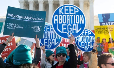 Pro-choice activists supporting legal access to abortion protest during a demonstration outside the US Supreme Court in Washington DC on 4 March.