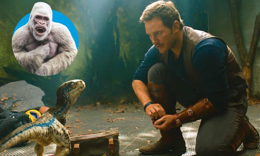 Creature comforts: Rampage (inset), Jurassic World: Fallen Kingdom