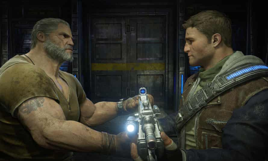 Gears hero Marcus Fenix bonds with his son JD in the only way he knows how: over a massive machine gun