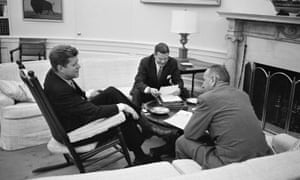 U.S. President John F. Kennedy in a meeting with Secretary of Defense Robert McNamara and Vice President Lyndon B. Johnson ( right), at the White House in Washington, D.C., March 1961.