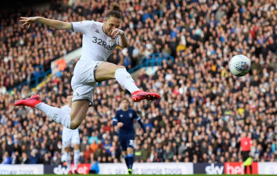 Luke Ayling scores against Huddersfield in March's 2-0 home win
