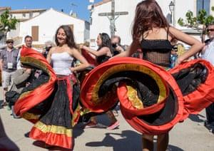 Young Gypsy girls dance