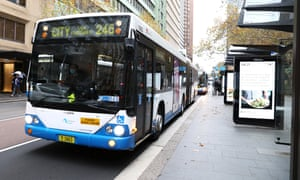 A general view is seen of buses and few people at the Wynyard park bus stop
