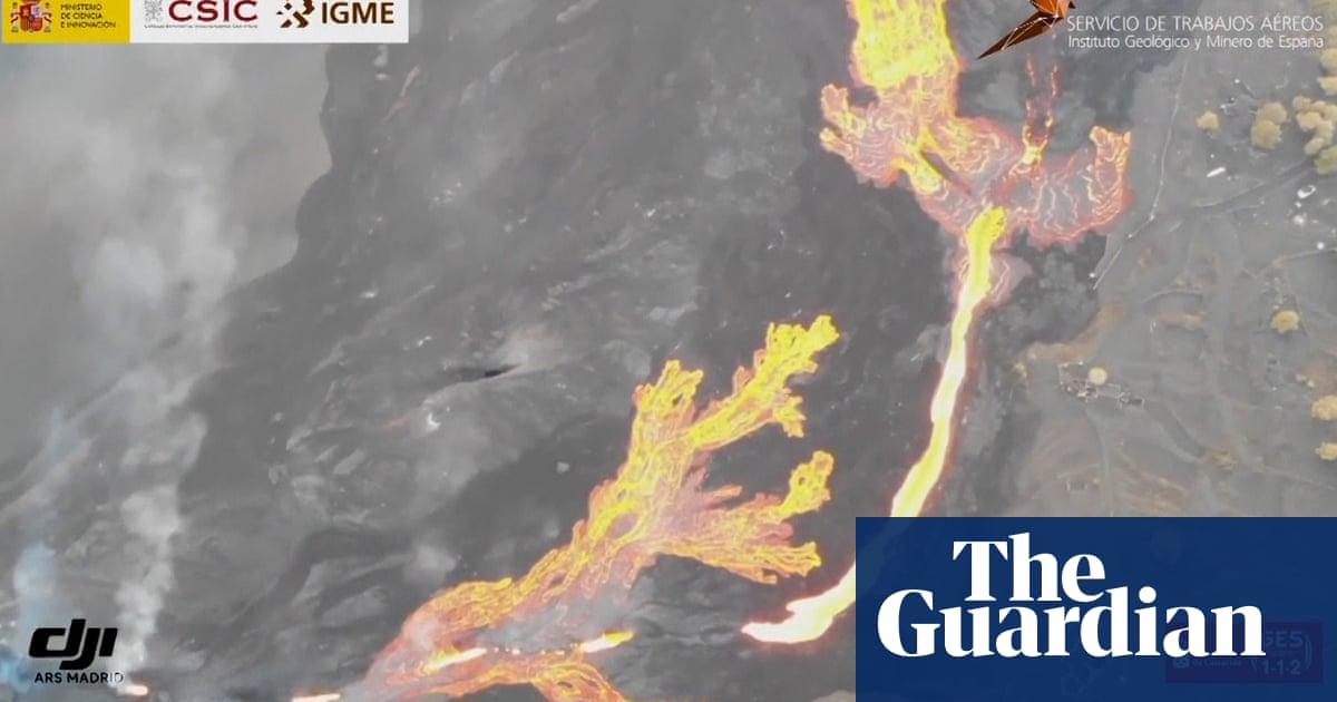 La Palma: drone footage reveals massive river of lava – video