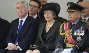 Michael Fallon, Theresa May and Sir Stuart Peach at the unveiling ceremony