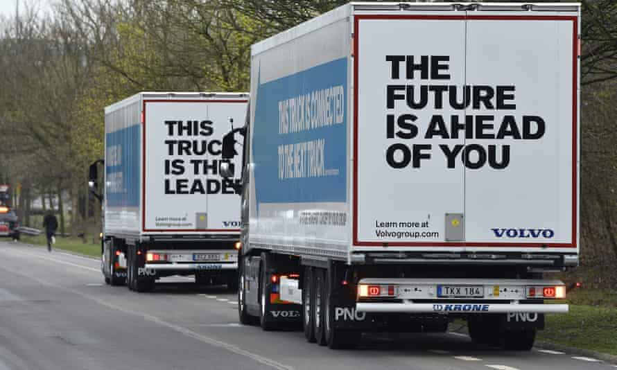 Semi-automated trucks are driven on the E19 highway in Vilvoorde last year.