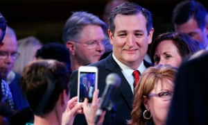 Ted Cruz poses for a photo during his election party at the Red Neck Country Club in suburban Houston.