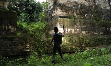 National Geographic explorer Dr Albert Lin in Tikal, Guatemala