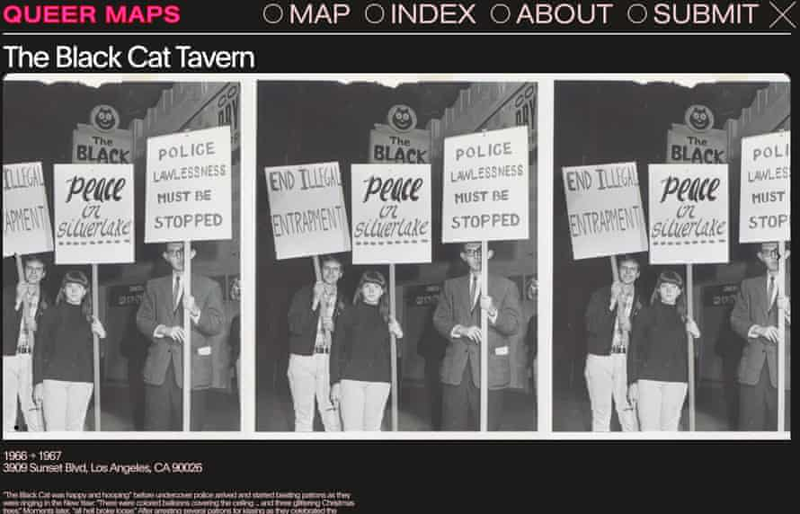 A screen shot from Queer Maps showing the Black Cat.