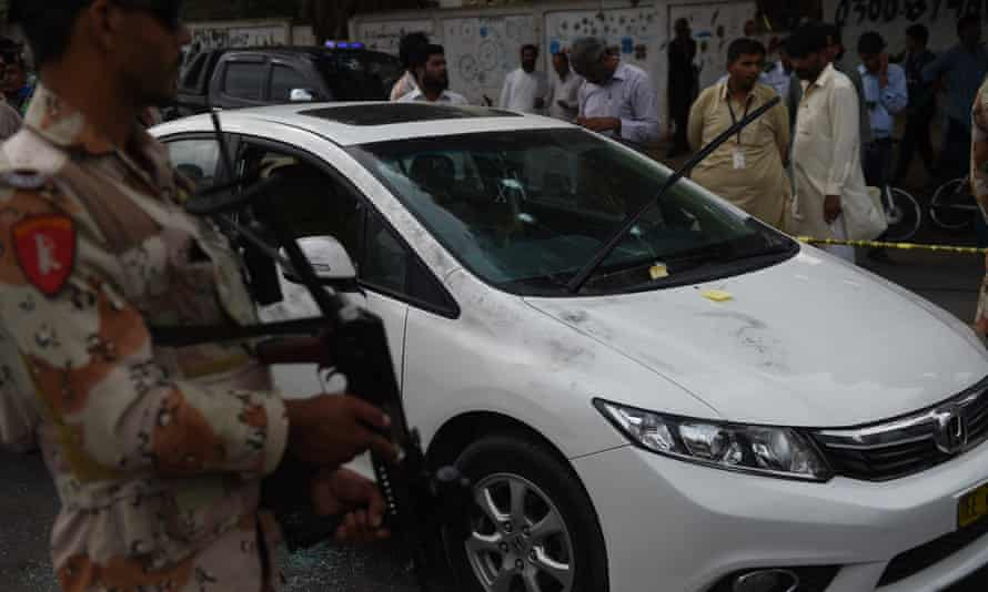 A bullet-riddled car in the Liaqatabad area of Karachi, after the gun attack on Amjad Sabri.