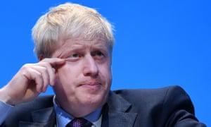 Boris Johnson seen on Saturday speaking at the Conservative party leadership hustings in Birmingham.