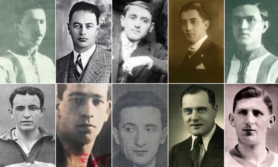Some of the Jewish footballers murdered during the Holocaust. From left to right, top line first: Imre Taussig, Árpád Weisz, Julius Hirsch, Henrik Nadler, Antal Vágó: Ferenc Weisz, Otto Fischer, Leon Sperling, Józef Klotz,József Braun.