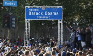 Los Angeles mayor Eric Garcetti and others rename Rodeo Road as Barack Obama Boulevard in May last year.