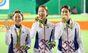 South Korean archers Chang Hye-Jin, Choi Mi-Sun and Ki Bo-Bae.