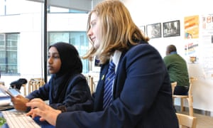 Students prepare to write their front page articles in a workshop at the Guardian Education Centre