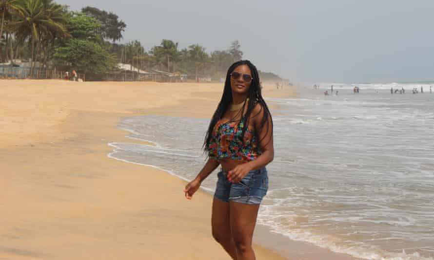 Vanessa Bolosier on the beach in Ghana.