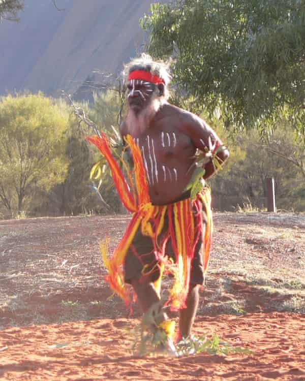 Indigenous Anangu elder Rolley Mintuma does a ceremonial dance