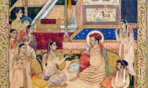 Detail of an Indian miniature painting (c1624) of the Mughal emperor Jahangir with his court.