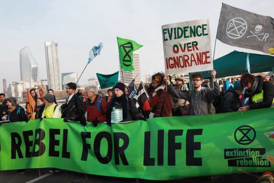 Protesters on Waterloo Bridge in London