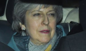 Theresa May leaves the Houses of Parliament