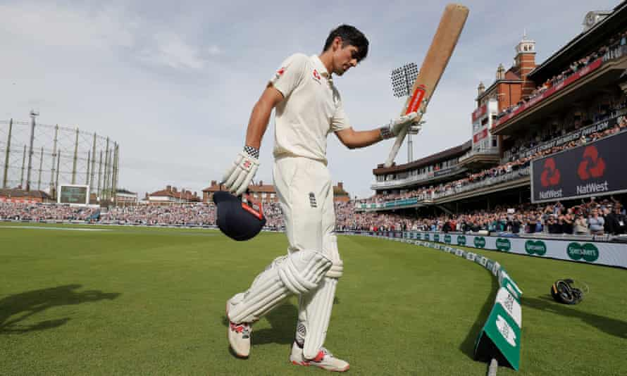 Cook salutes the Oval crowd after his final Test innings, the fairytale 147 against India a year ago.