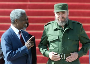 Annan talks with the Cuban president, Fidel Castro, during a welcoming ceremony for Annan at the Plaza of the Revolution in Havana