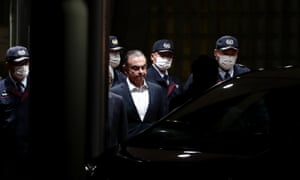 Ghosn leaving the detention centre after being released on bail last April.