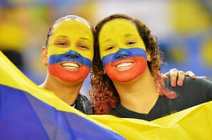Colombia fans get ready to scream on their team against England