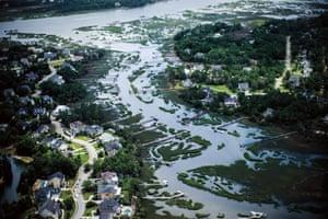 Docks from heavy residential development choke a coastal tidal creek in Mount Pleasant