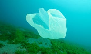 A plastic bag floats in the sea off the coast of Bali