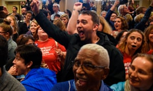 Supporters cheer after Jennifer Wexton won the Virginia-10 district congressional election in November last year.