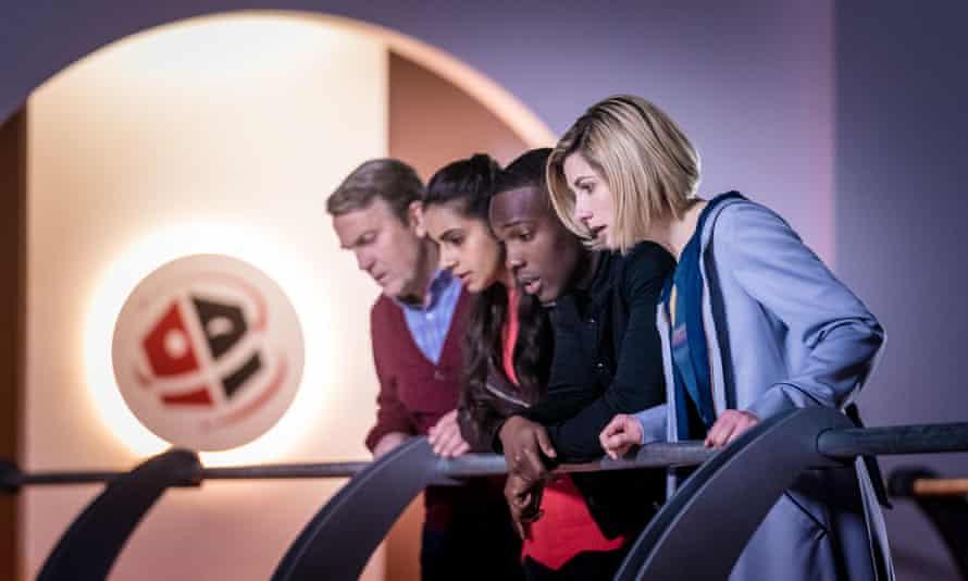 Graham (Bradley Walsh), Yaz (Mandip Gill), Ryan (Tosin Cole) and The Doctor (Jodie Whittaker) in Kerblam!