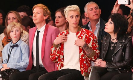 Beck, Justin Bieber and Joan Jett at the Saint Laurent show at the Hollywood Palladium in LA.