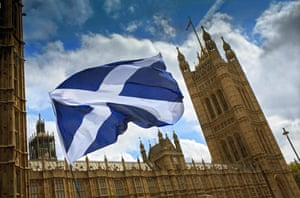 The flag of St Andrew flies outside the Houses of Parliament