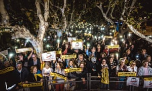 Catalan separatists show support for the eight members of the former Catalan government remanded in custody.