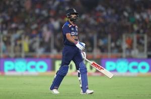 Kohli walks off after being dismissed for 0 by Rashid.