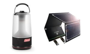 Coleman 360 Light & Sound LED lantern and bluetooth speaker and RAVPower 16W solar charger