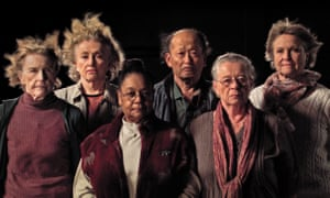 Survivors of the experiment (left to right: Mary Gidley, Edna Reves, Fé Seymour, Eisuke Yamaki, Maria Björnstam and Servane Zanotti) in Marcus Lindeen's documentary The Raft.
