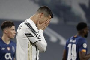 Juventus' Cristiano Ronaldo as his team slide out.