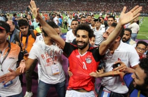 Mohamed Salah celebrates after Egypt's victory over Congo that sealed World Cup qualification
