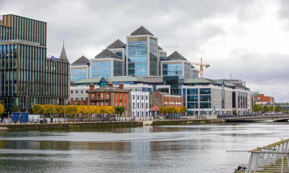 The skyline of the business and financial sector of Dublin city centre.
