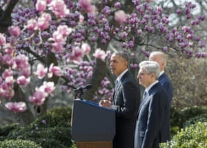 Barack Obama makes remarks as he nominates his Supreme Court nominee Merrick Garland in the Rose Garden of the White House.