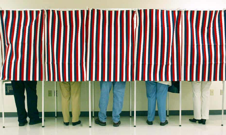 Voting booths in Independence, Kansas