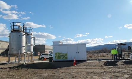Vehicles wait to refuel at the Persigo Wastewater Treatment Plant in Colorado.
