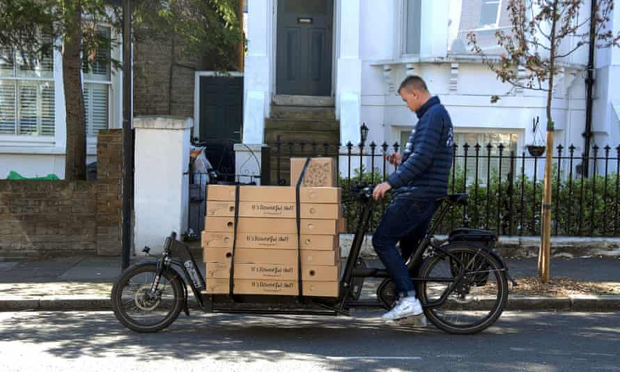 An electric cargo bike delivers flowers in south London