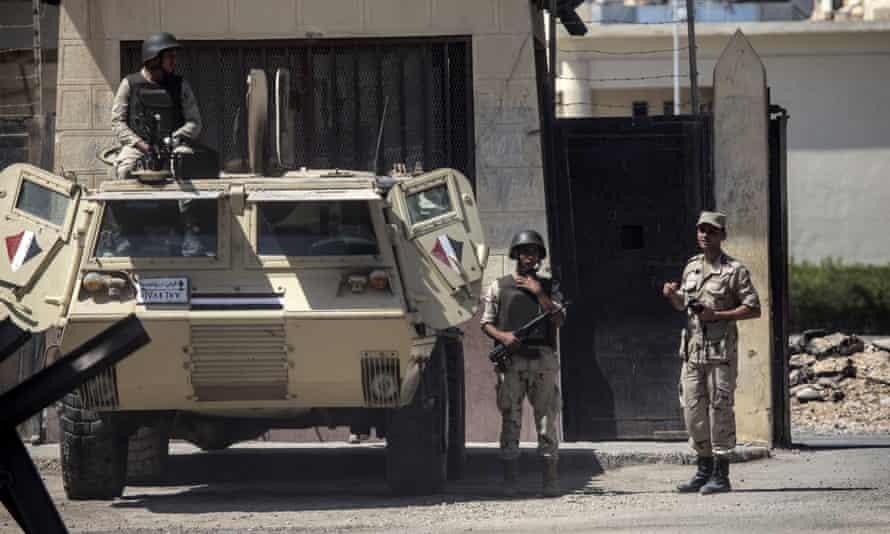 An Egyptian army vehicle in Rafah.