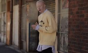 'I was an undercover black': sweatshirt, £235, Yeezy, and shirt, £480, Vetements, both selfridges.com; cords, £255, Etudes (libertylondon.com).