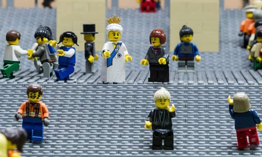 Lego figures of the Queen and German chancellor Angela Merkel in Legoland in Berlin.