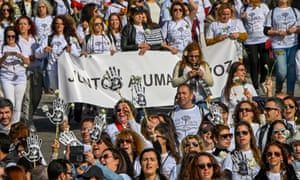 """National Movement of Nurses stage a """"White March"""" during a day of national strike for better working conditions in Lisbon, Portugal."""