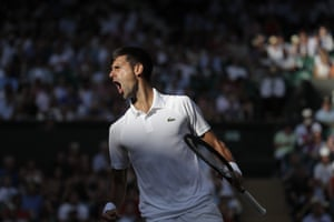 Novak Djokovic celebrates his win over Ernests Gulbis.